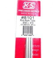 K&S METAL #8101 3/32' OD ALLOY TUBE 3PCS