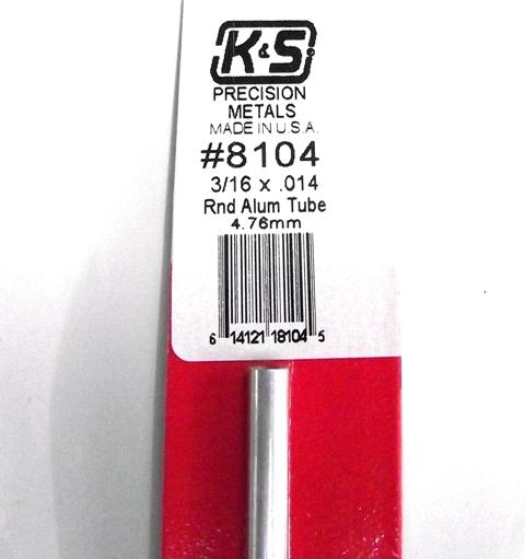 K&S METAL #8104 3/16' OD ALLOY TUBE 1PC
