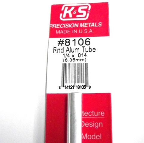 K&S METAL #8106 1/4'OD ALLOY TUBE 1PC