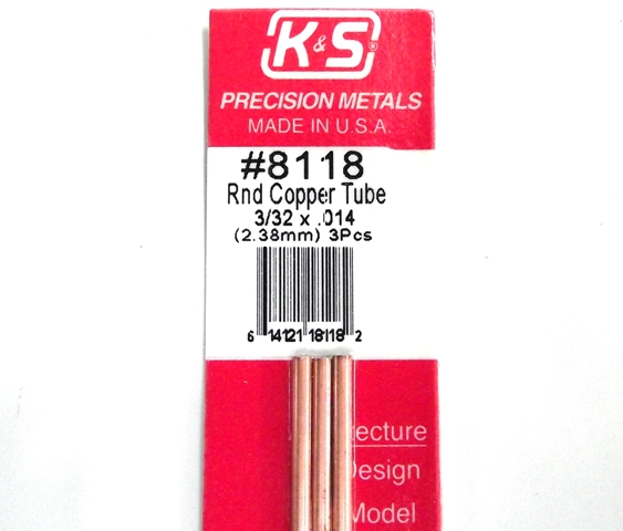 K&S METAL #8118 3/32' OD COPPER TUBE 3PCS