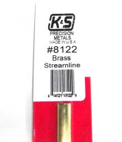 K&S METAL #8122 SMALL BRASS STEAMLINE TUBE 1PC