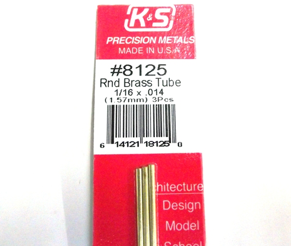 K&S METAL #8125 1/16' OD BRASS TUBE 3PCS