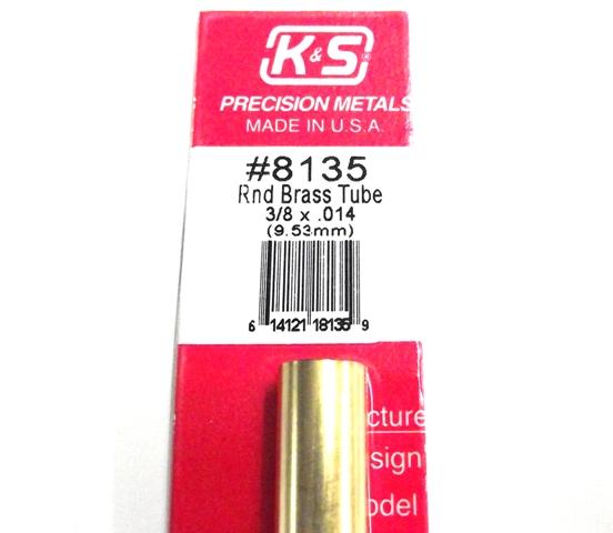 K&S METAL #8135 3/8' OD BRASS TUBE 1PC