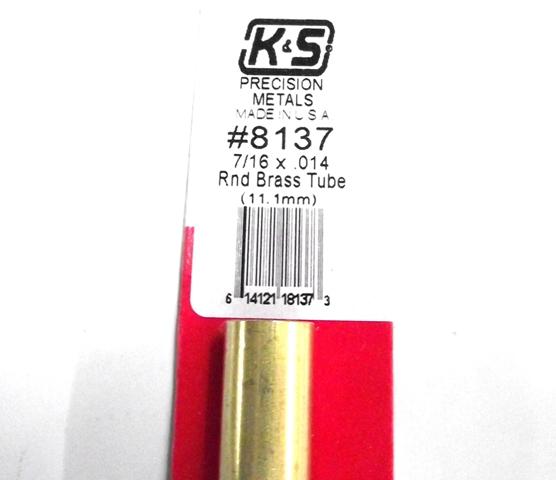 K&S METAL #8137 7/16' OD BRASS TUBE 1PC