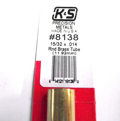 K&S METAL #8138 15/32' OD BRASS TUBE 1PC