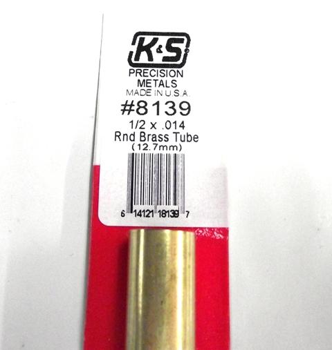 K&S METAL #8139 1/2' OD BRASS TUBE 1PC