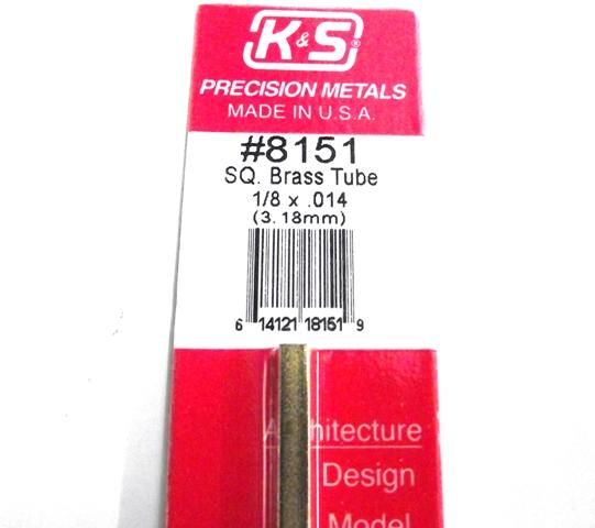 K&S METAL #8151 1/8' OD SQUARE BRASS TUBE 1PC
