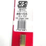 K&S METAL #8155 1/4' OD SQUARE BRASS TUBE 1PC