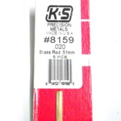 K&S METAL #8159 .020 SOLID BRASS ROD 5PCS