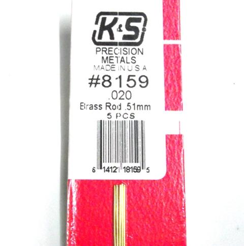 K&S METAL #8159 .020 SOLID BRASS ROD 5PCS