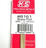 K&S METAL #8161 3/64' SOLID BRASS ROD 4PCS