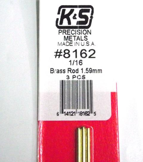 K&S METAL #8162 1/16' SOLID BRASS ROD 3PCS