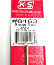 K&S METAL #8163 3/32' SOLID BRASS ROD 1PC