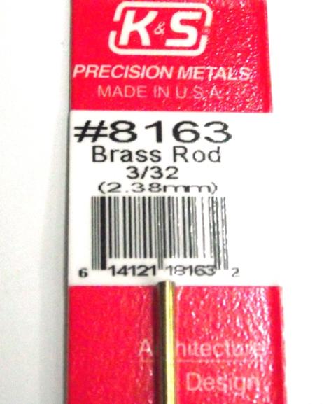 K&S METAL #8163 3/32' SOLID BRASS ROD 1PC