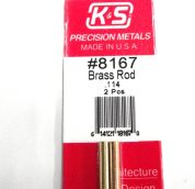 K&S METAL #8167 .114 SOLID BRASS ROD 2PCS