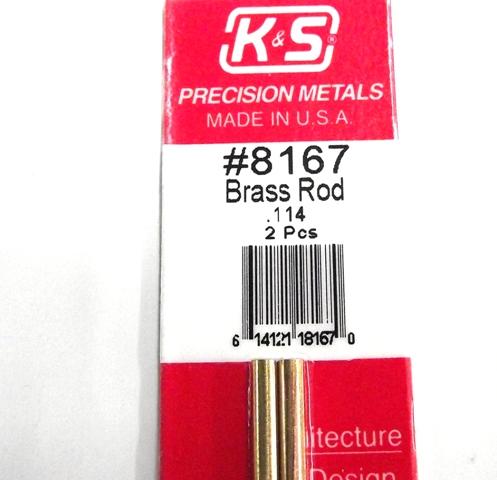 K&S METAL #8167 .114 SOLID BRASS ROD 2PCS