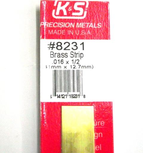 K&S METAL #8231 .016 X 1/2' BRASS STRIP 1PC