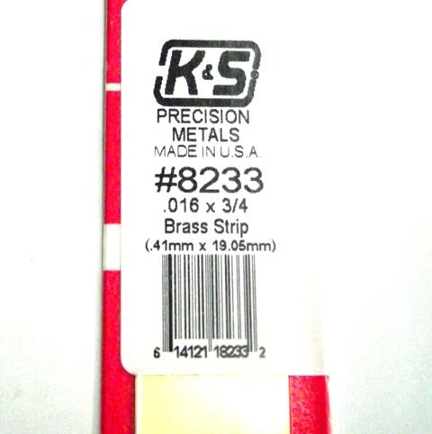 K&S METAL #8233 .016 X 3/4' BRASS STRIP 1PC