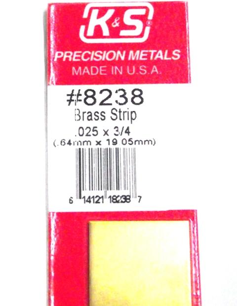K&S METAL #8238 .025 X 3/4' BRASS STRIP 1PC