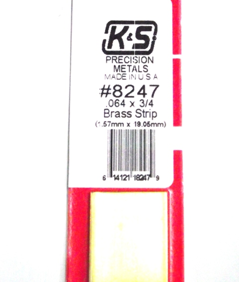 K&S METAL #8247 .064 3/4' BRASS STRIP 1PC