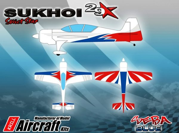 KRILL SUKHOI 29-37% SEBA Red/White/Blue Clear Canopy Fitted