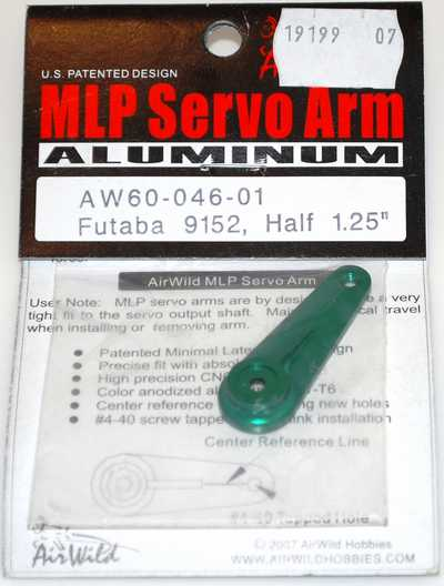 AIR WILD ALLOY SERVO ARM HALF 1.25' SUIT 9152 FUTABA SERVO