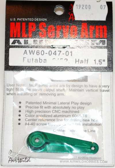 AIR WILD ALLOY SERVO ARM HALF 1.5' SUIT 9152 FUTABA SERVO
