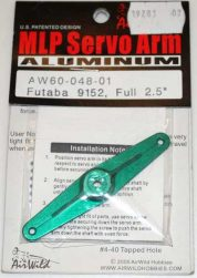 AIR WILD ALLOY SERVO ARM FULL 2.5' SUIT 9152 FUTABA SERVO