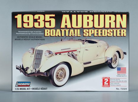 1:25 1935 AUBURN BOAT TAIL SPEEDSTER CONVERTIBLE Plastic Model Kit LINDBERG (RLIN72324)