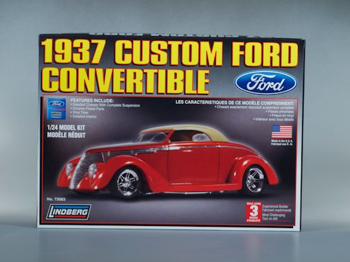 1:24 1937 FORD CUSTOM CONVERTIBLE Plastic Model Kit LINDBERG (RLIN73063)