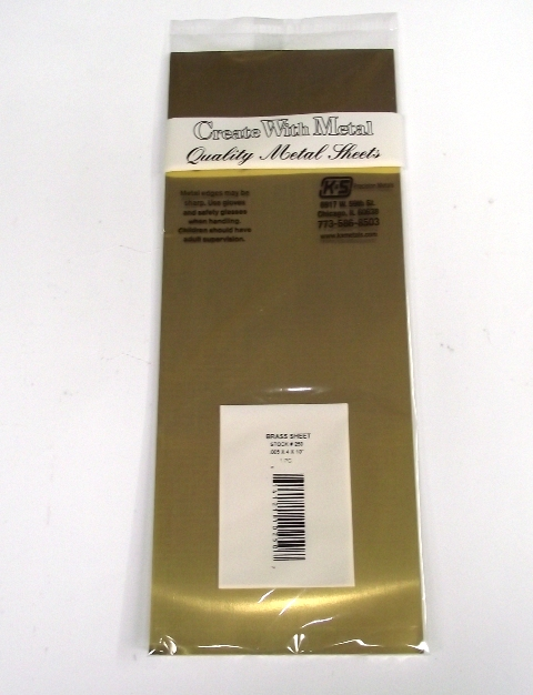 K&S METAL #250 BRASS SHEET .005 4X10' 1PC