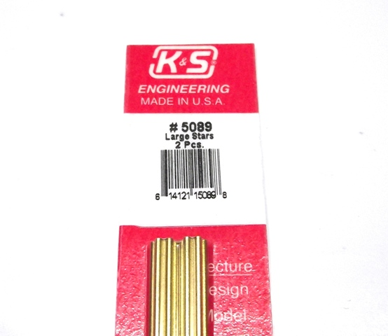 K&S METAL #5089 LARGE BRASS STAR 2PCS