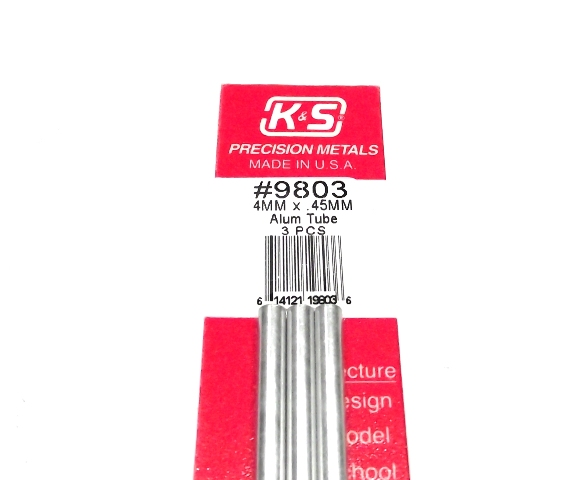 K&S METAL #9803 ALUMINIUM ROUND TUBE 4X300MM 3PCS