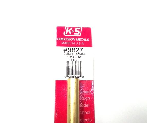K&S METAL #9827 BRASS ROUND TUBE 9X300MM