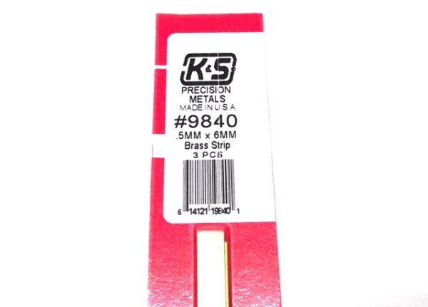 K&S METAL #9840 BRASS STRIP .5X6X300MM 3PCS