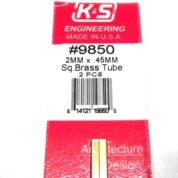 K&S METAL #9850 BRASS SQUARE TUBE 2X300MM 2PCS