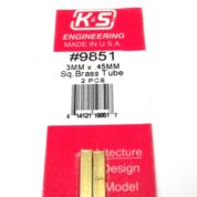 K&S METAL #9851 BRASS SQUARE TUBE 3X300MM 2PCS
