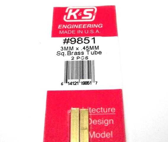 K&S METAL #9851 BRASS SQUARE TUBE 3X300MM 2PCS
