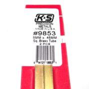 K&S METAL #9853 BRASS SQUARE TUBE 5X300MM 2PCS