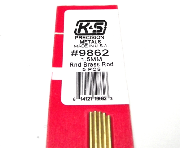 K&S METAL #9862 BRASS ROD 1.5X300MM 5PCS
