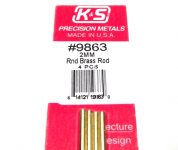 K&S METAL #9863 BRASS ROD 2X300MM 4PCS