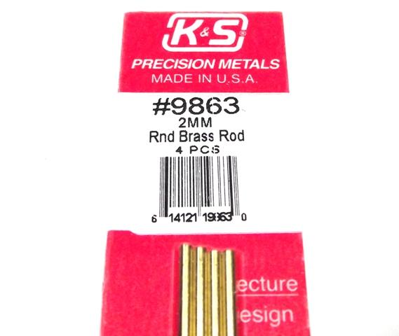 K&S METAL #9863 BRASS ROD 2X300MM 4PCS