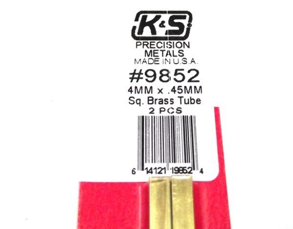 K&S METAL #9852 BRASS SQUARE TUBE 4X300MM 2PCS