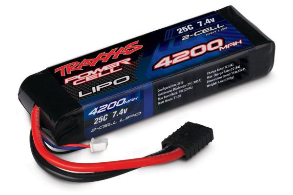 2867 (PART) TRAXXAS BATTERY  LIPO 2S 7.4V 4200MAH 25C