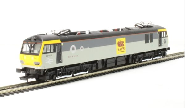 "Hornby R3480 Class 92 92016 ""Brahms"" in Railfreight grey with EWS 'Beastie' vinyls"