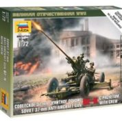 ZVEZDA 1/72 SOVIET ANTI-AIRCRAFT GUN WITH CREW KIT 6115