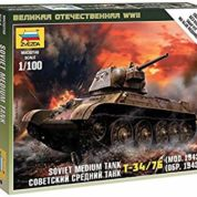 ZVEZDA 1/100 SOVIET MEDIUM TANK T-34-74 KIT 6159