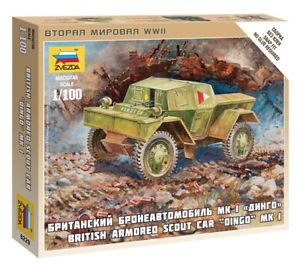 ZVEZDA 1/100 BRITISH ARMORED CAR DINGO KIT 6229