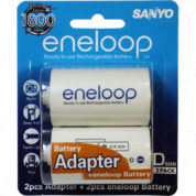 ENELOOP ADAPTORS D SIZE WITH 2XAA BATTERIES