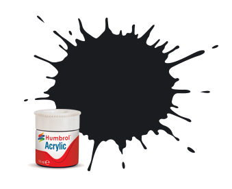 21 HUMBROL ACRYLIC PAINT   BLACK GLOSS 14ml